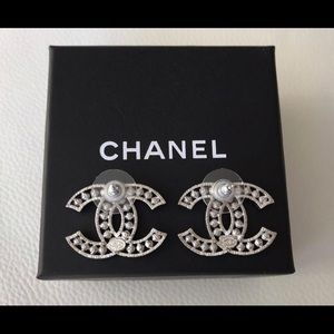 CHANEL Jewelry - Classic Big Cc Logo Crystals Pearls Studs Earrings